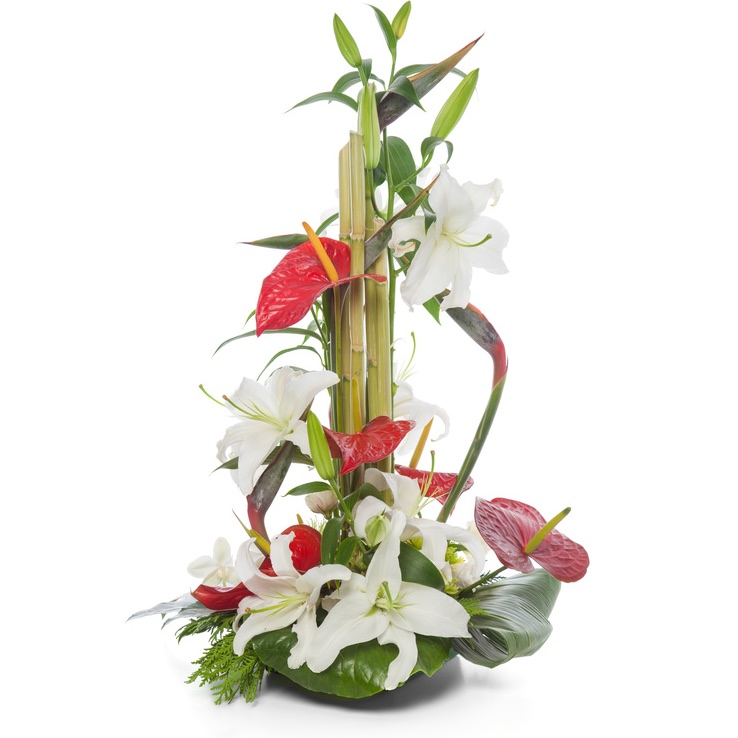 Centerpiece with lilies, anthuriums, bamboo and sterlizie